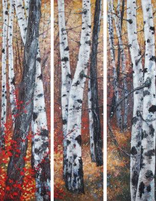symphonie d'automne triptyque 3 fois 160 cm x 40 cm