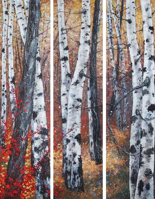 symphonie d'automne triptyque 3 toiles de 160x40 cm chacune
