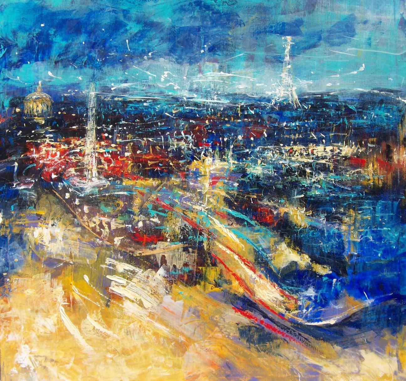 Peinture Paris 100 x 100 cm