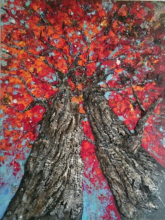couple arbres peinture