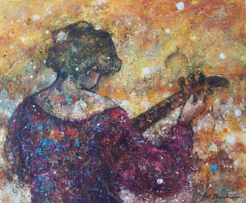 enfant musicien peinture