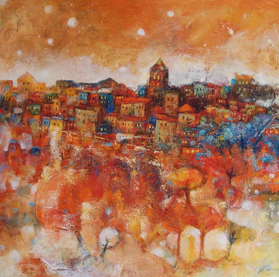 le village du poete 100 x 100 cm