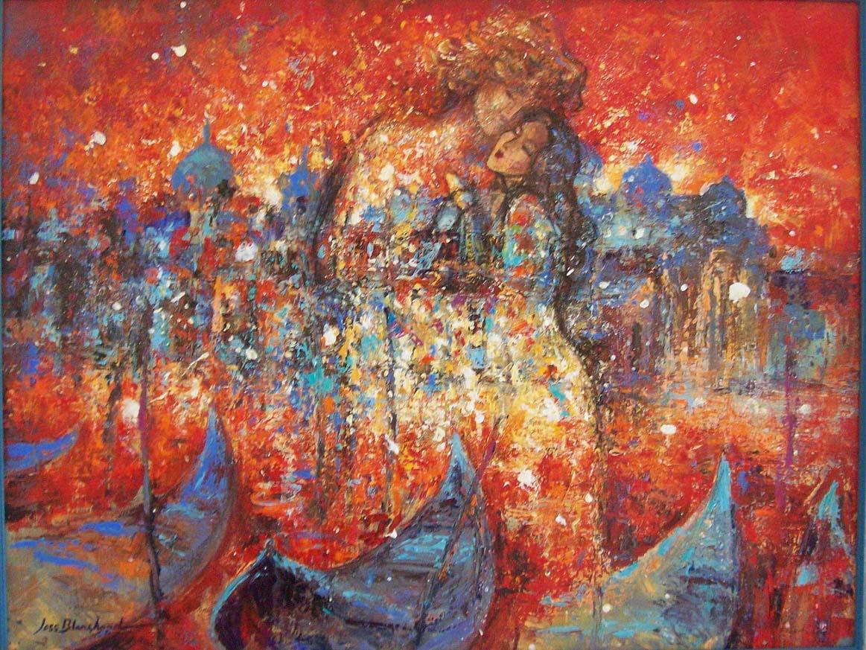 couple peinture sur toile 65 x 50 cm