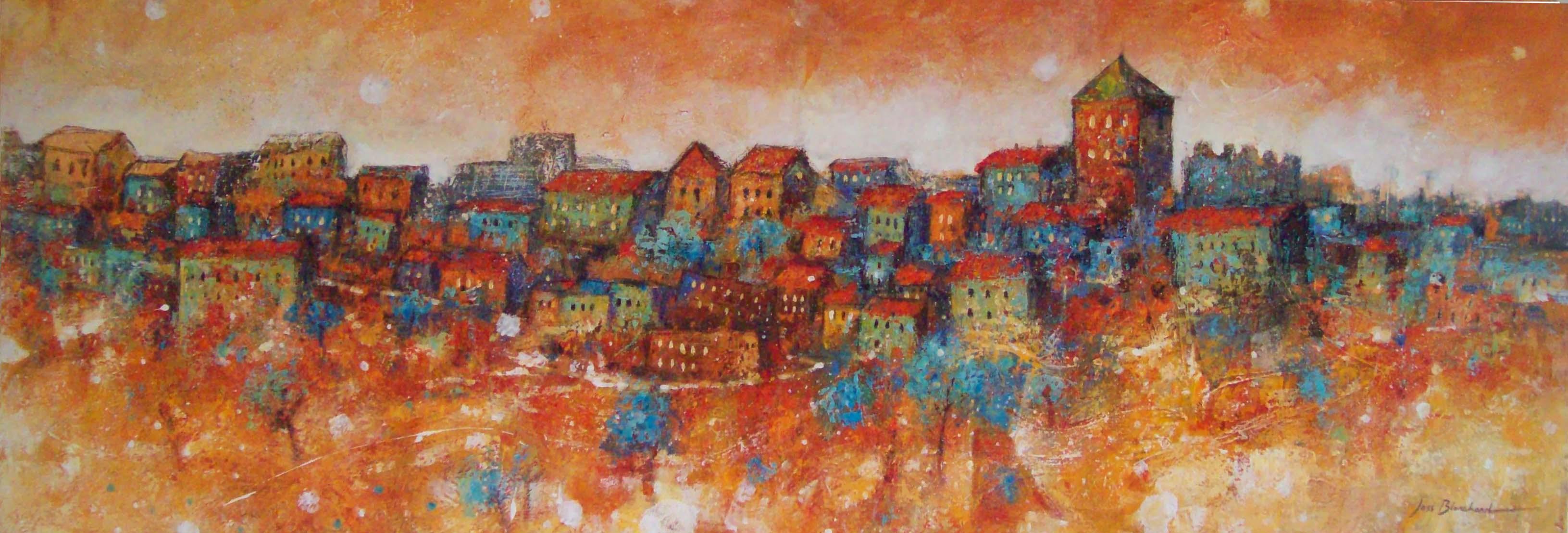 peinture sur toile village couleurs vives