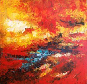 peinture abstraite dominante rouge