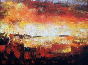 toile abstraite orange