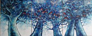 peinture -arbres- bleus