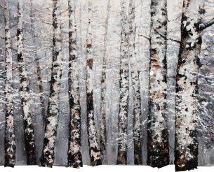 peinture - forêt - bouleaux