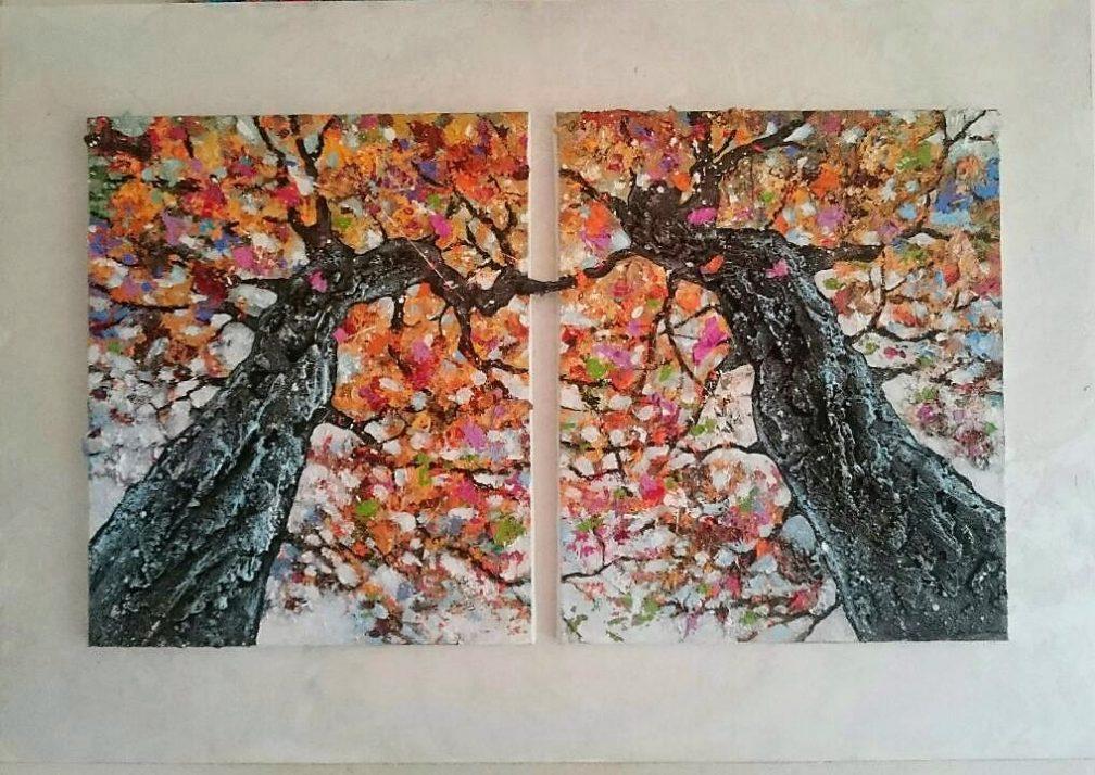 arbres inséparables peinture