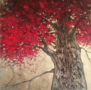 peinture- arbre rouge- matière- écorce