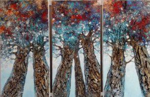 triptyque -peinture-arbres