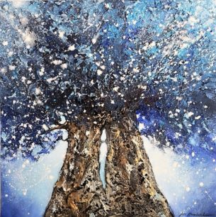 petite peinture arbres unis bleu et argent
