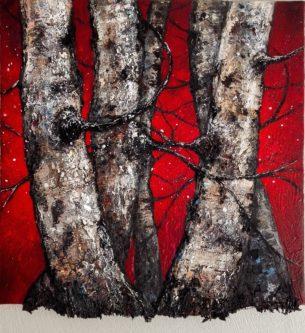 peinture bouleaux rouges