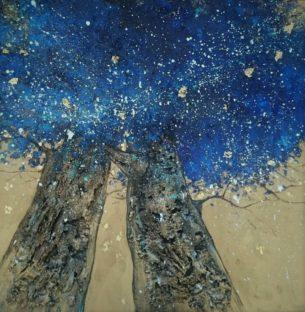 peinture-arbres-bleus-étoiles
