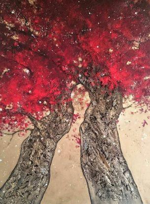 peinture-arbre-rouge-or