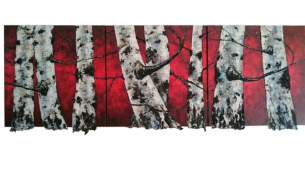 peinture -bouleaux- rouges