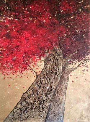 peinture arbres rouge et or union