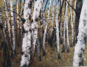 peinture arbres bouleaux en automne avec petits éclats d'or