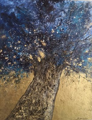 peinture d'arbre solitaire et étoiles, tons bleus et or