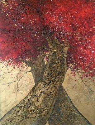 peinture arbres enlacés rouge et or