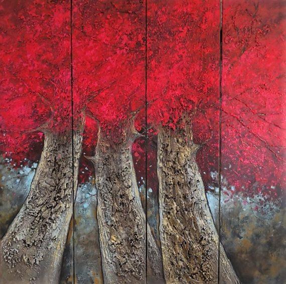 grande peinture arbres rouge effet matière tronc