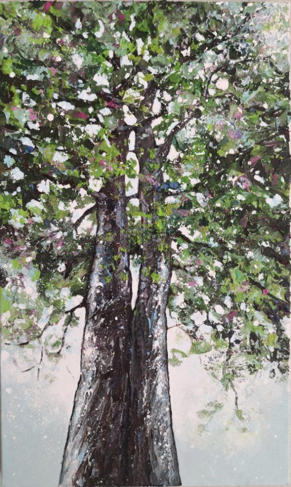 petite peinture arbres amoureux tons verts
