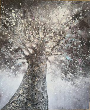 peinture arbre celeste tons gris