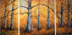 Au coeur de la forêt – triptyque 400 x 200 cm
