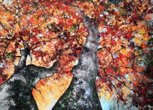 Couple de hêtres 100 x 73 cm